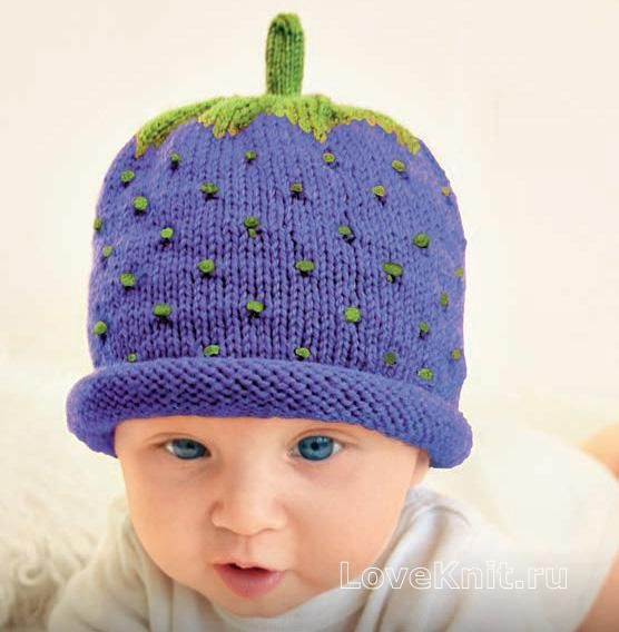 детская шапочка в виде ягодка фото к описанию | вязание | Pinterest