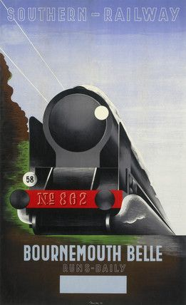 The Bournemouth Belle was a named train run by the Southern Railway (Great Britain) from 1931 until nationalisation in 1948 (with a break for the war until 1947) and subsequently by British Railways until it was withdrawn on 9th July 1967. Artist: Marton. Date: 1936.17