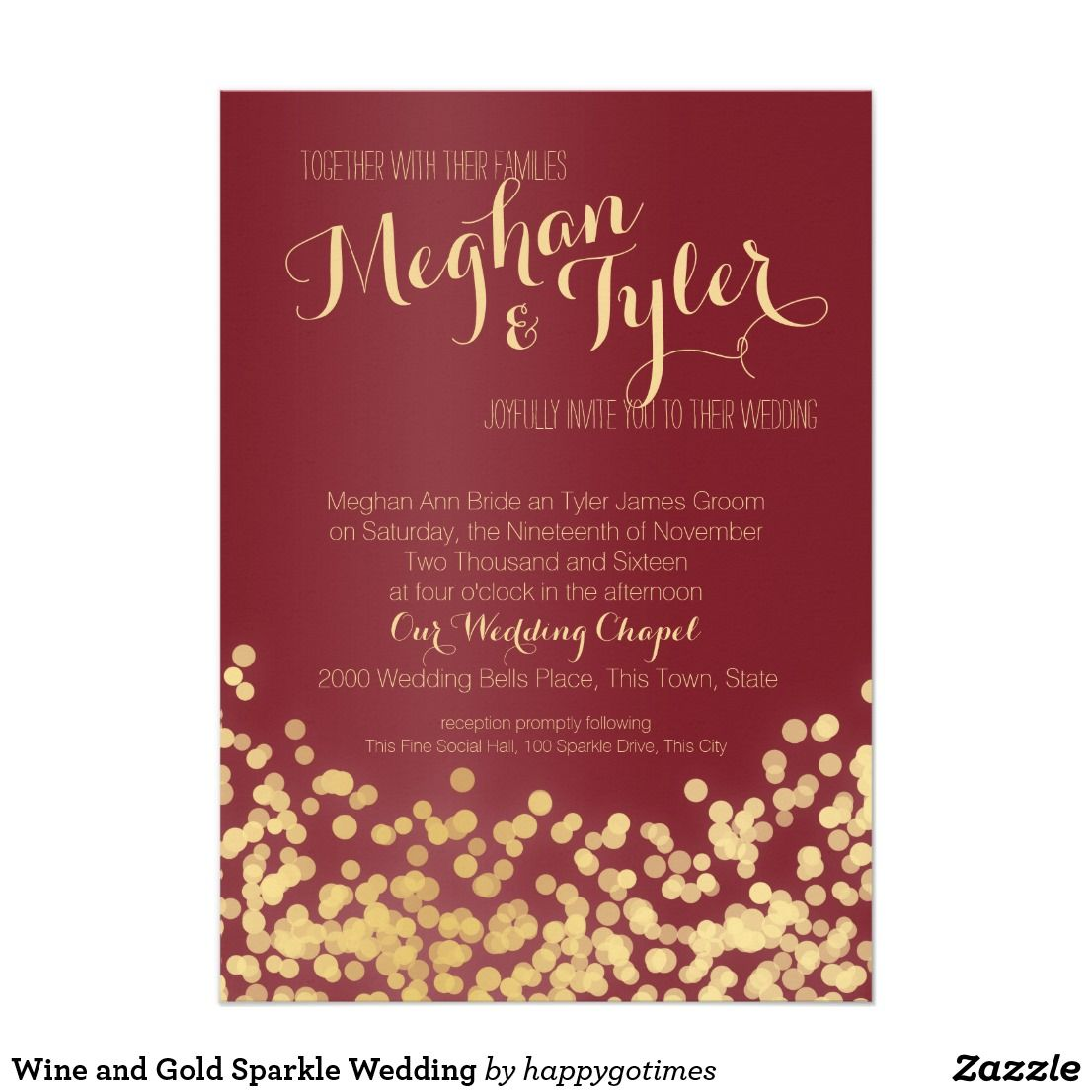 Wine and Gold Sparkle Wedding Invitation | { Wedding Invitations ...