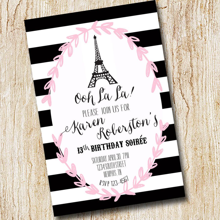 Paris eiffel tower girl birthday party invitation bridal shower paris eiffel tower girl birthday party invitation by peachymommy 1500 filmwisefo
