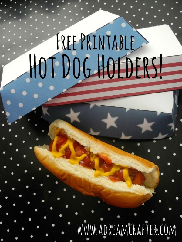 Printable 4th of July Hot Dog Holders