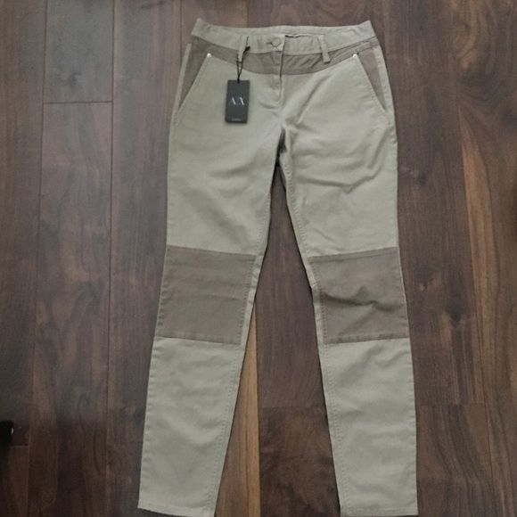 "BRAND NEW!! A/X Color Blocked Twill Skinny A/X color blocked twill skinny in Khaki color with knee patches, back yoke and front pocket contrast in a light brown color. 29"" inseam. Armani Exchange Pants Skinny"