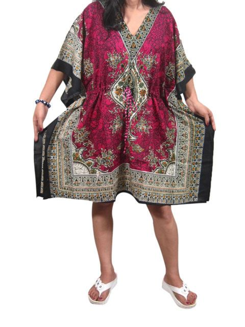WOMEN BOHO CASUAL CAFTAN PRINTED V NECK BEACH COVER UP SHORT KAFTAN PLUS SIZE…