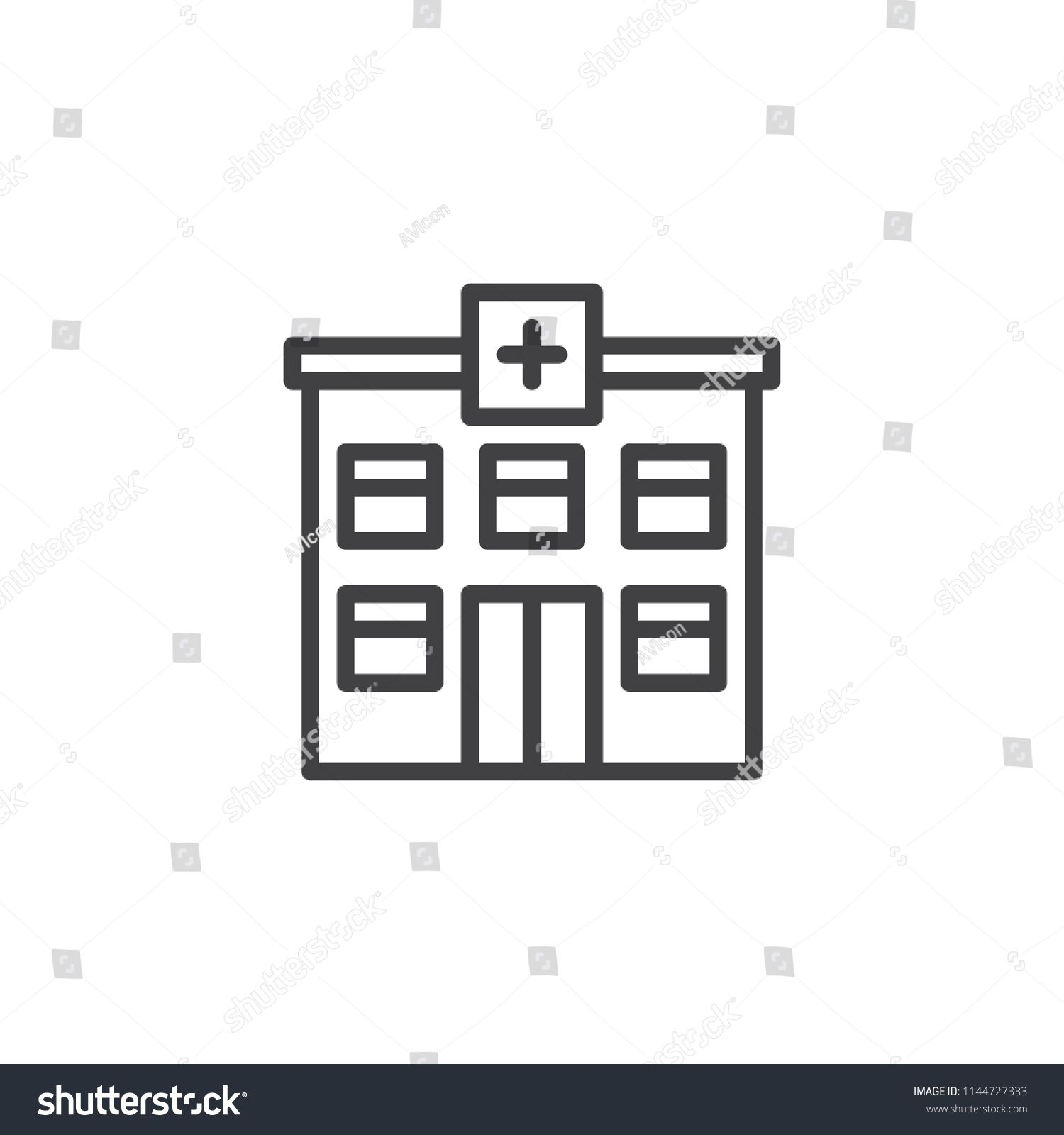 Hospital building outline icon  linear style sign for mobile