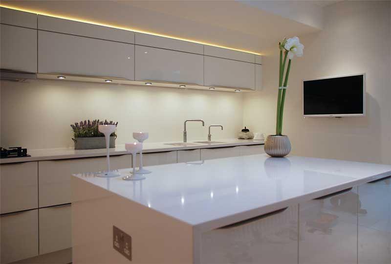 White Kitchen Units Black Worktop high gloss white lacquered door kitchen & island with warm grey