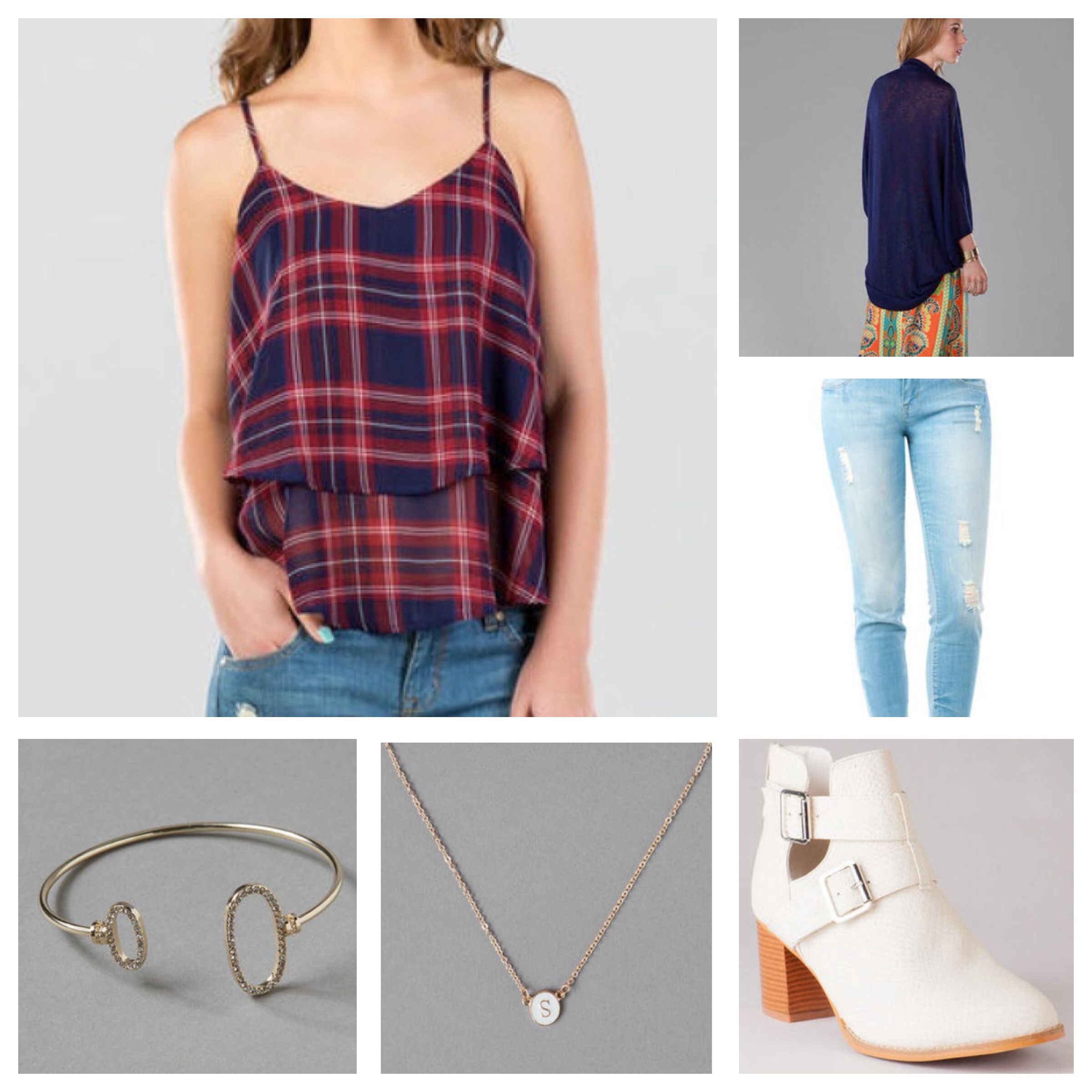 "Medina Solid Wrap in Navy, Payson Plaid Tank, Harper Ultra Skinny Jean in Distressed Bleach White, Jaclyn Cutout Ankle Bootie, ""S"" Initial Necklace, and Hopkins Open Bangle"