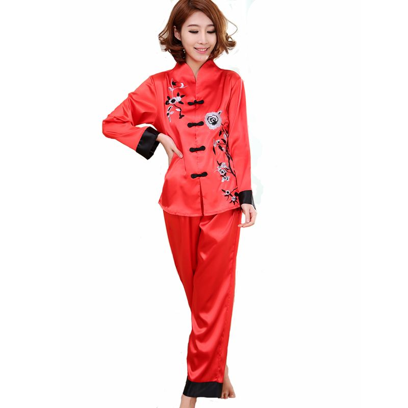 Hot Sale Red Chinese Style Women Silk Pajamas Set Embroidery ...