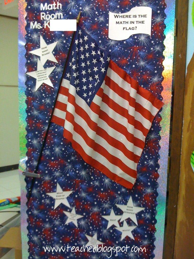 Cute Bulletin Board With Social Studies And Math Integrated Patriotic Classroom Cute Bulletin Boards Patriotic Classroom Theme