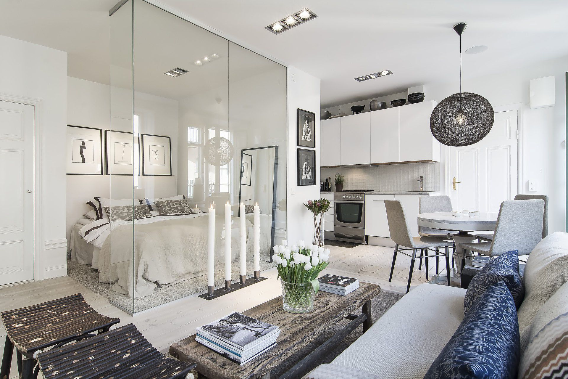 Small 366 Sq Ft Apartment With Glass