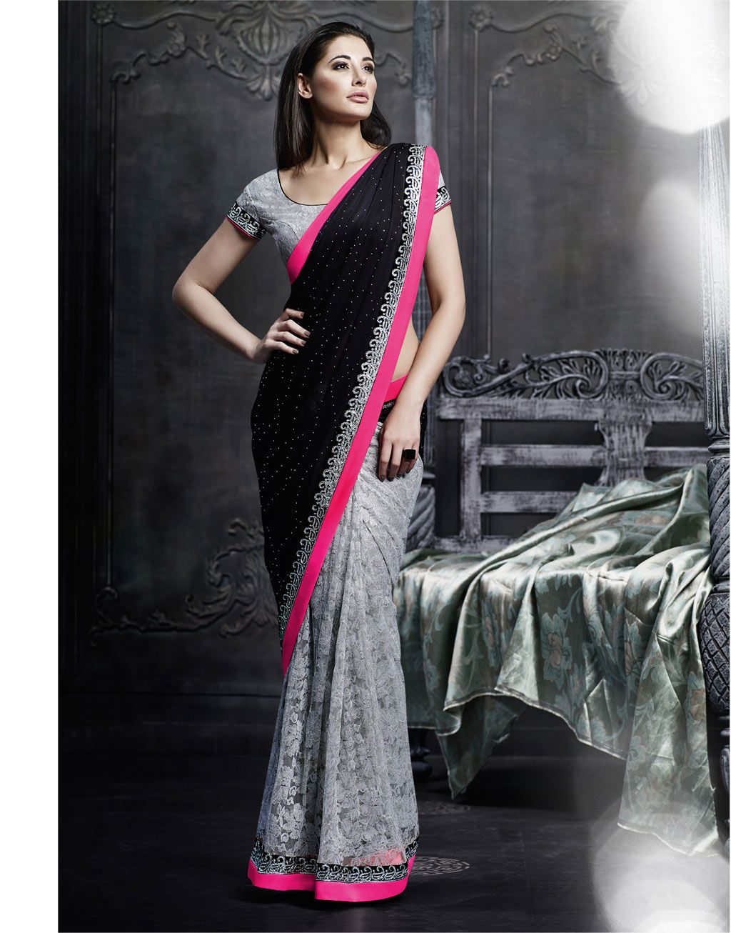 Retro style fashion saree nargis fakhri black satin party wear saree   indian feminity
