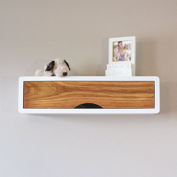 Charmant White Floating Retro Style Mid Century Modern Slim Wall Shelf, Wall Cabinet  With Solid Hard Wood Door