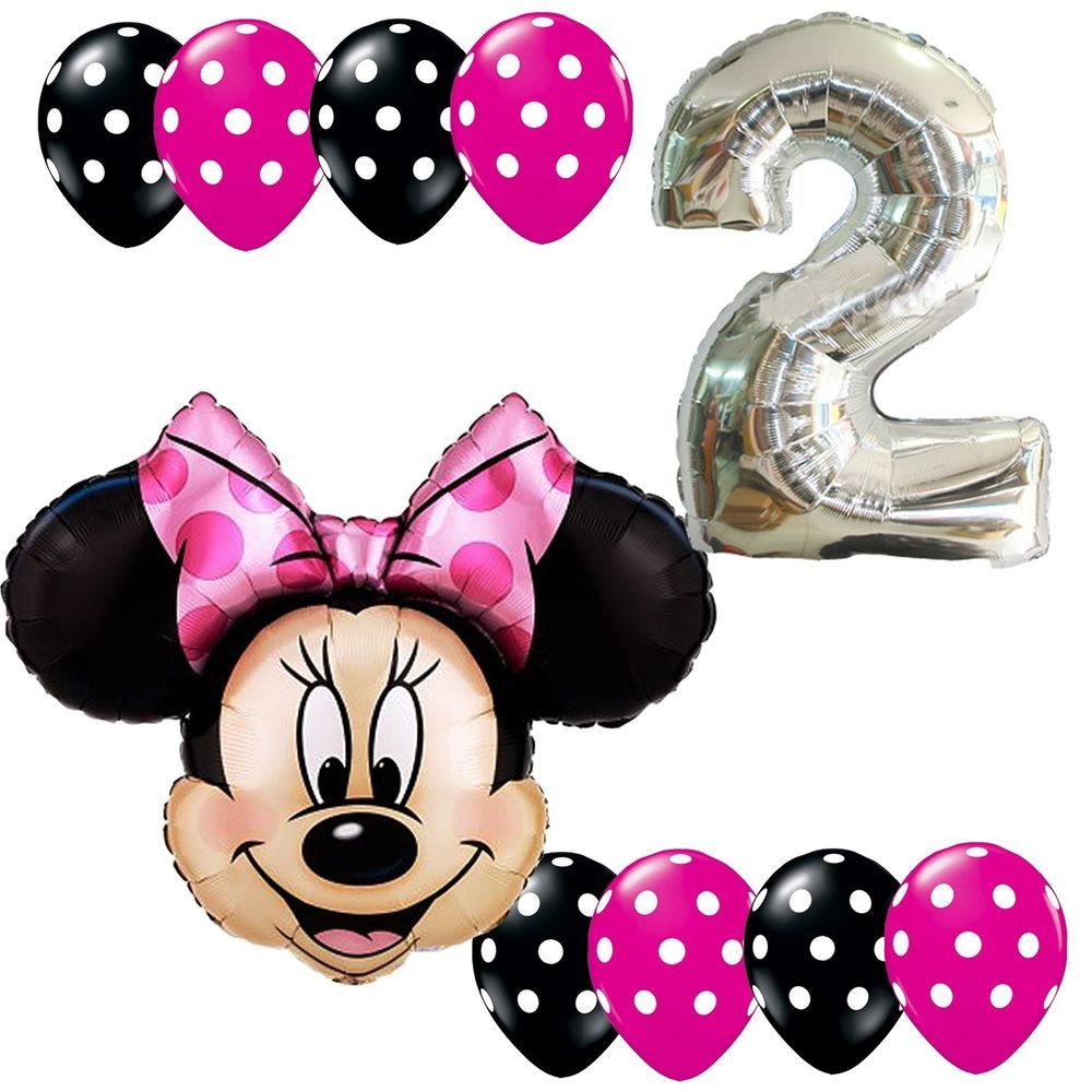 2nd Birthday Party Supplies Minnie Mouse Second Foil Balloons Polka dots Anagram #Anagram #BirthdayChild
