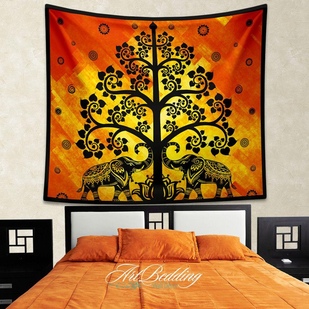 Elephant Tapestry, Boho tree olf life wall tapestry, Hippie tapestry ...