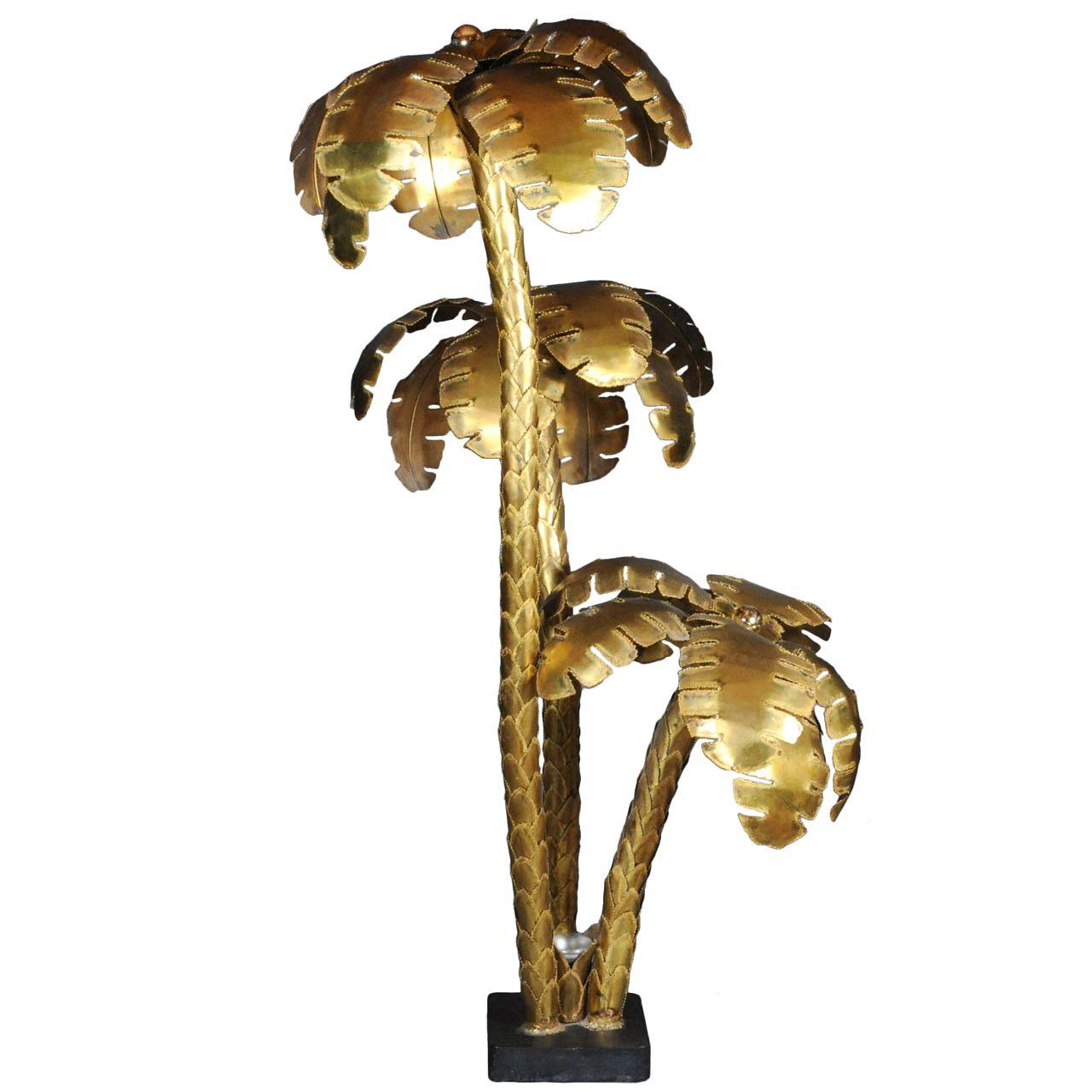 Huge 6 Feet Tall Copper 3 Trunk Maison Jansen Palm Tree Floorlamp Copper Floor Lamp Floor Lamp Tree Floor Lamp