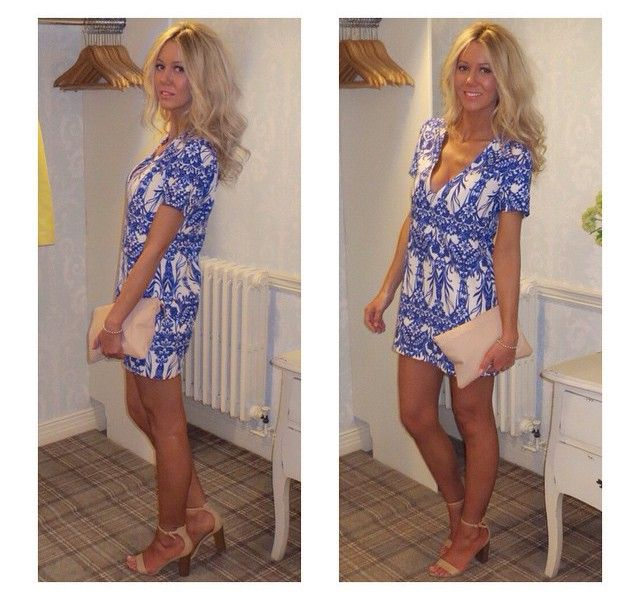 Stylebaby Missguided Moment Missguided Blue Print Shift Dress River Island Nude Clutch Bag New Look Nude