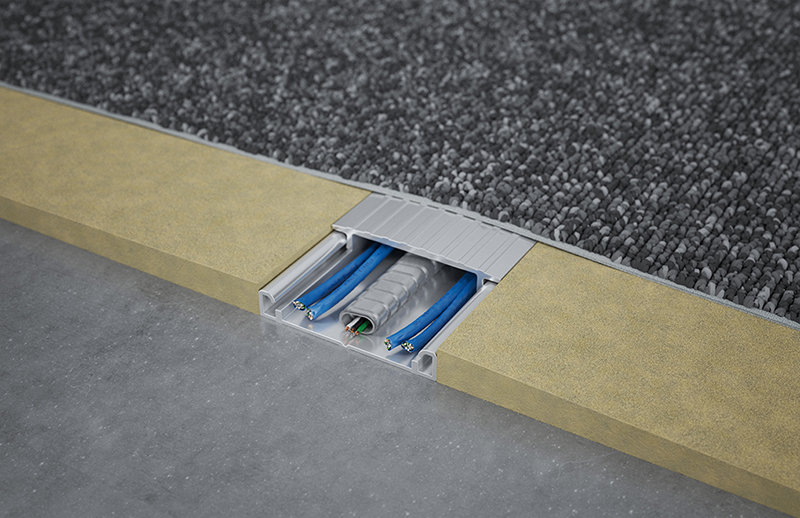 Under Carpet Wireway Connectrac In 2020 Hide Electrical Cords Flat Wire Floor Cord Cover