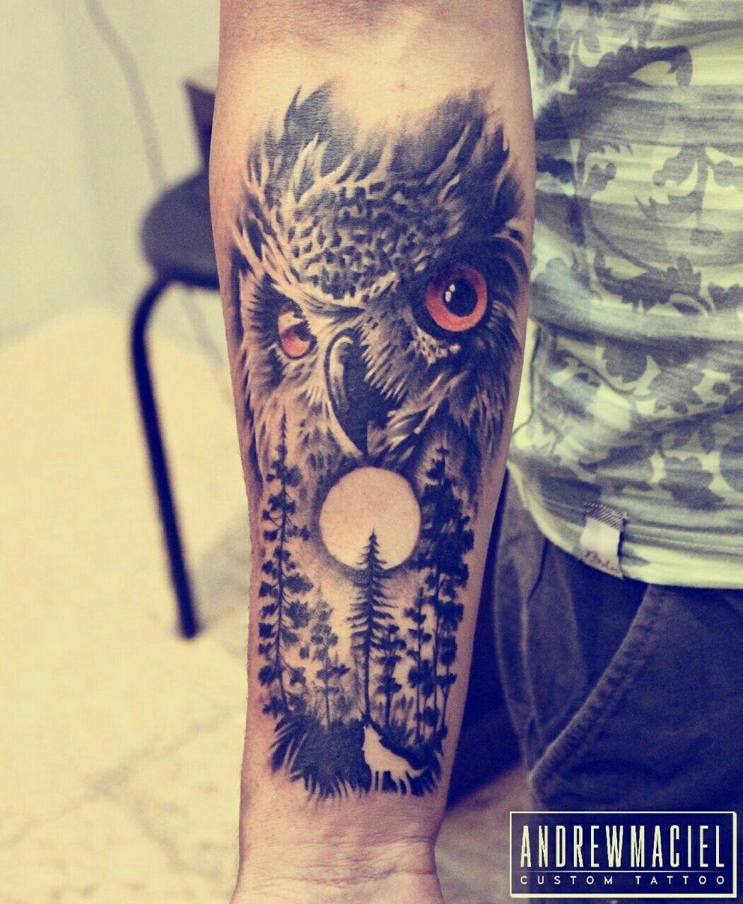Great Horned Owl Black And Grey Tattoo #tatuagem #Tattoo #owl...
