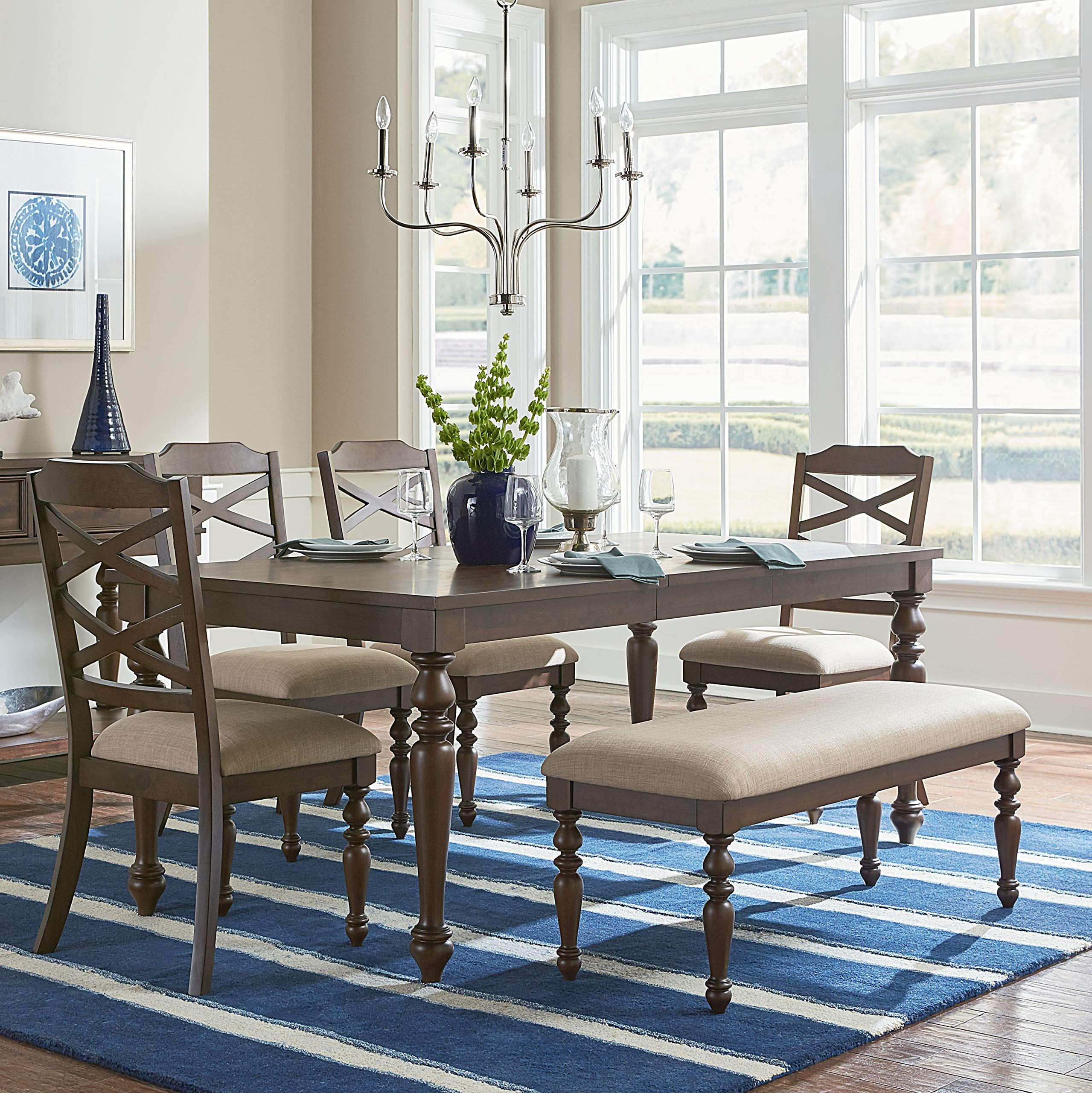 furnituremaxx laren cherry finish wood dining set with leaf table rh pinterest com
