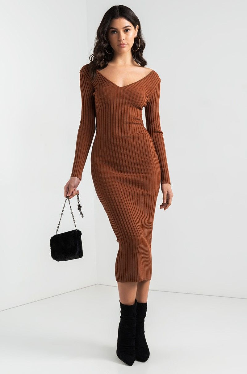 d56095230d1 Front View You And Me Long Ribbed Sweater Dress in Rust