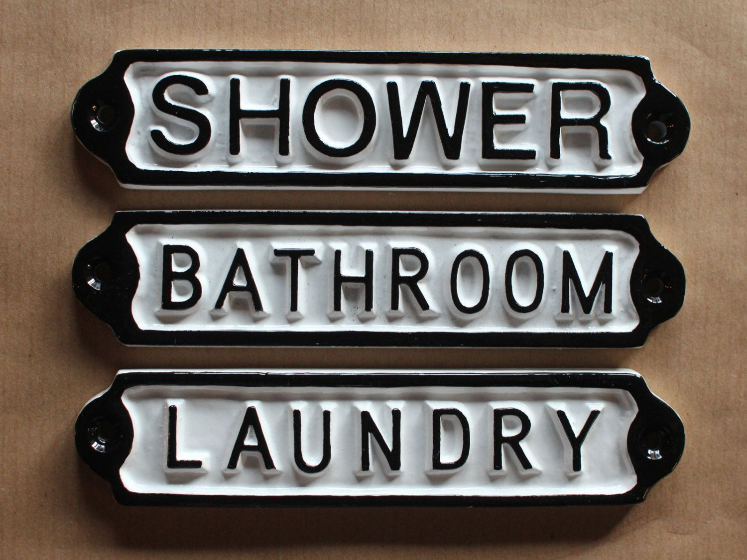 Metal Laundry Sign Antique Bathroom  Shower  Laundry Door Signs Shabby Chic White