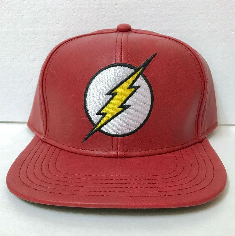 b3592996ce889d Faux-Leather THE FLASH SNAPBACK HAT Dark Red Flat Bill DC Comics Men/Women