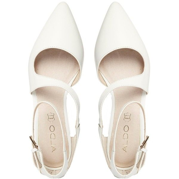 ALDO Flat Pointed White Asymmetric Flat Shoes ($64) ❤ liked on Polyvore featuring shoes, flats, pointed shoes, pointed flat shoes, white flat shoes, flat pointy shoes and white pointed flats