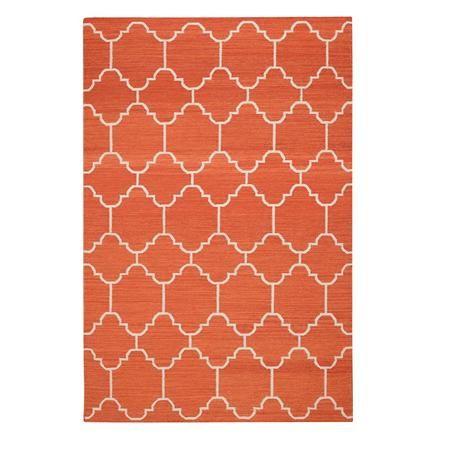Moroccan Dhurrie Rug Rust Orange Cream 697 For 5x8