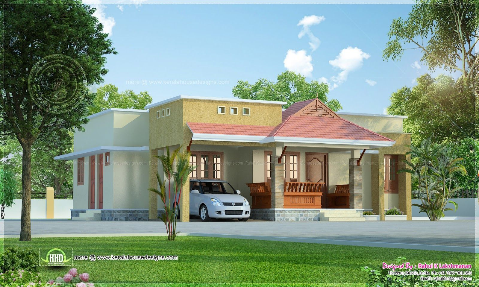 small kerala style beautiful house rendering home