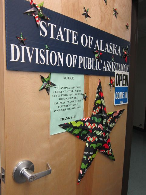 Another view of my office door with 5-point origami stars made with leftover Christmas wrap (thank you co-worker Janet!).