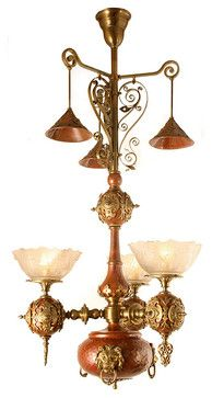 Incredible Antique Victorian 1870 Gasolier With Lions Head Shades And Castings Traditional Chandeliers Toronto Turn Of The Century L