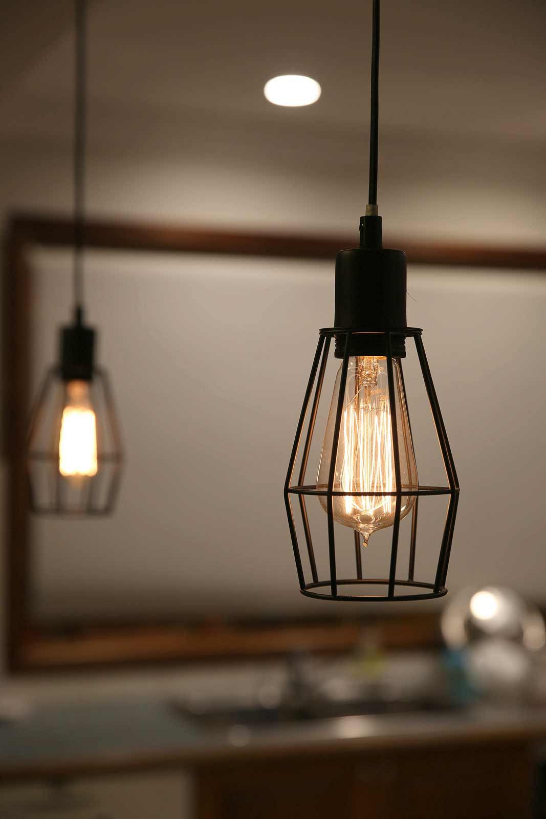 Industrial Kitchen Lights Wooden Chairs Black Cage Pendant Light For Dining