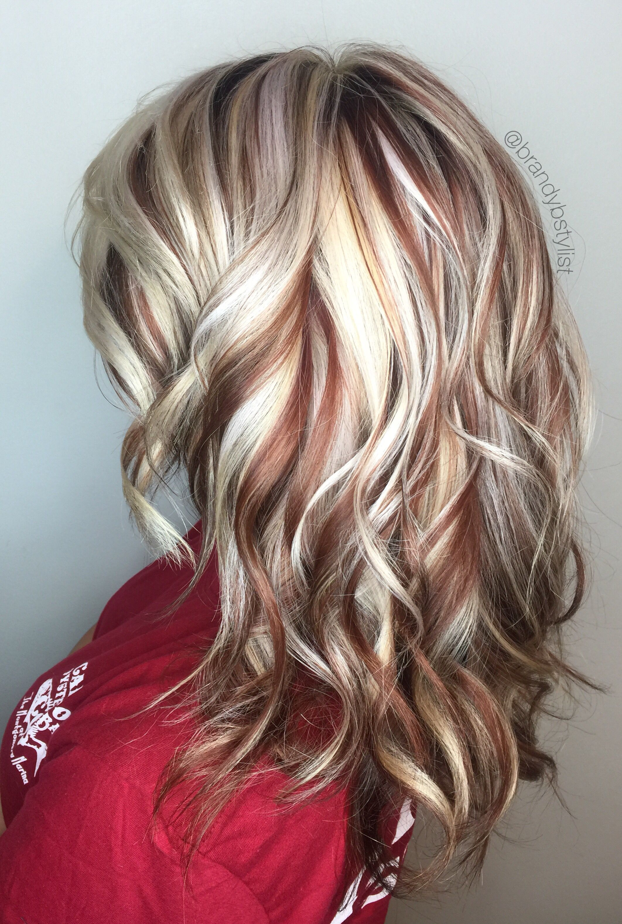 Blonde And Red Highlights Lowlights Copper Lowlight Hair Color Brandystylist