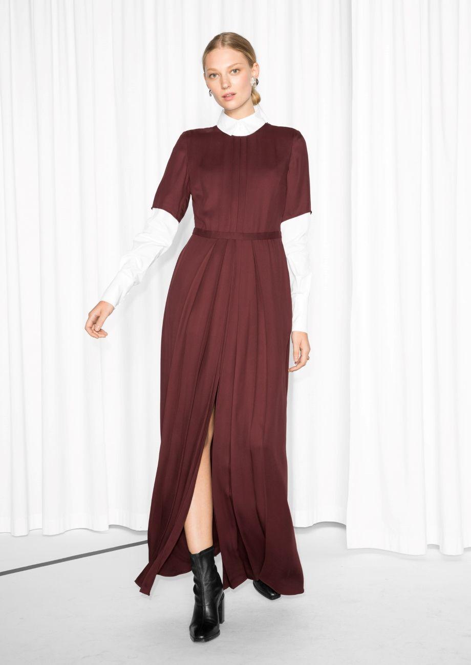 Maxi crepe dress red dark crepes dark and winter