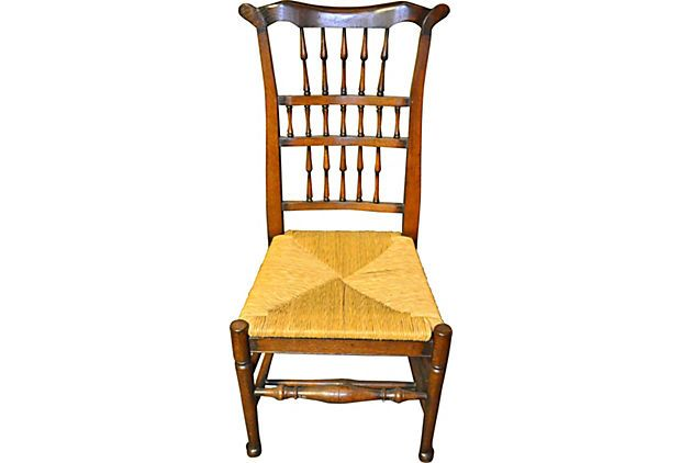 Spindle-Back Chair w/ Rush Seat circa 1880- perfect English country accent chair.