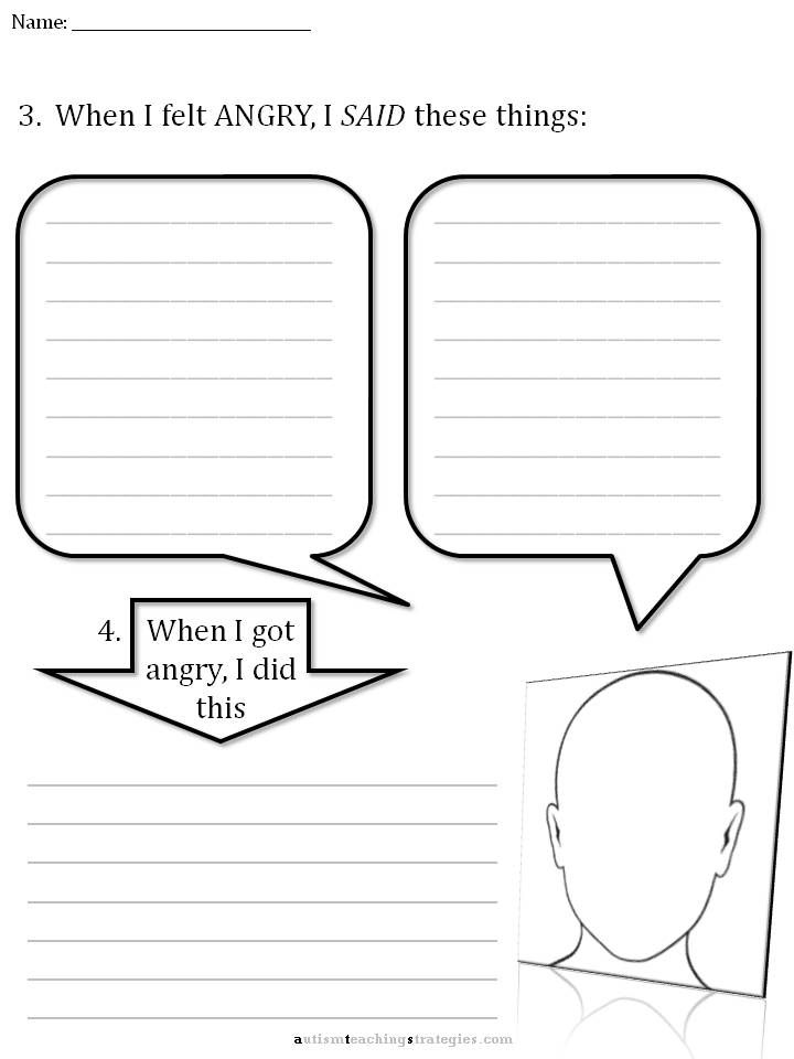 Free Social Thinking Worksheets – Anger Worksheet