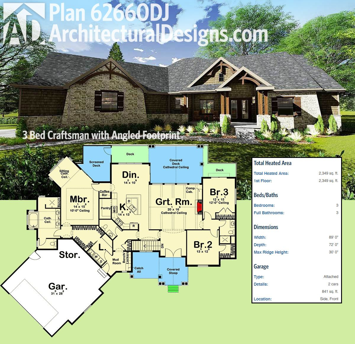 plan 62660dj 3 bed craftsman with angled footprint in 2018 house rh pinterest com