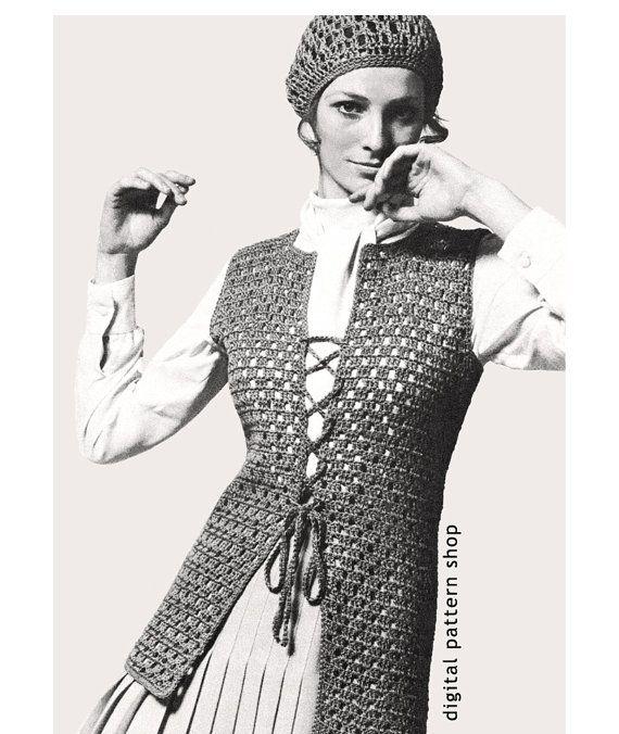 Crochet Pattern Vintage Hippie Boho Vest And Matching Cloche Hat