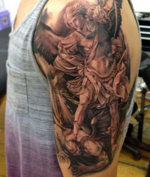 75 St Michael Tattoo Designs For Men