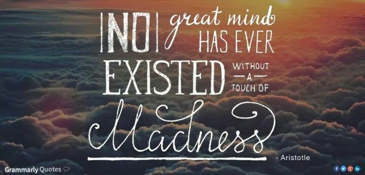 """""""No great mind has ever existed without a touch if madness. """" Aristotle"""