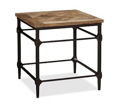 Parquet Reclaimed Wood End Table Metal End Tables Wood