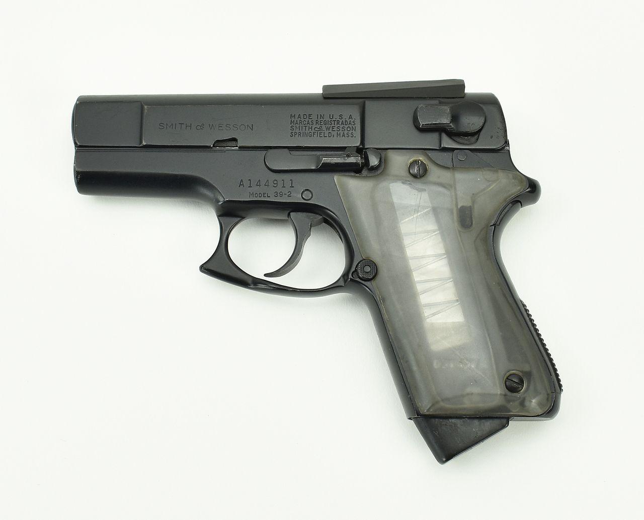 S&W 39-2 ASP 9mm caliber pistol. The original custom chopped carry ...