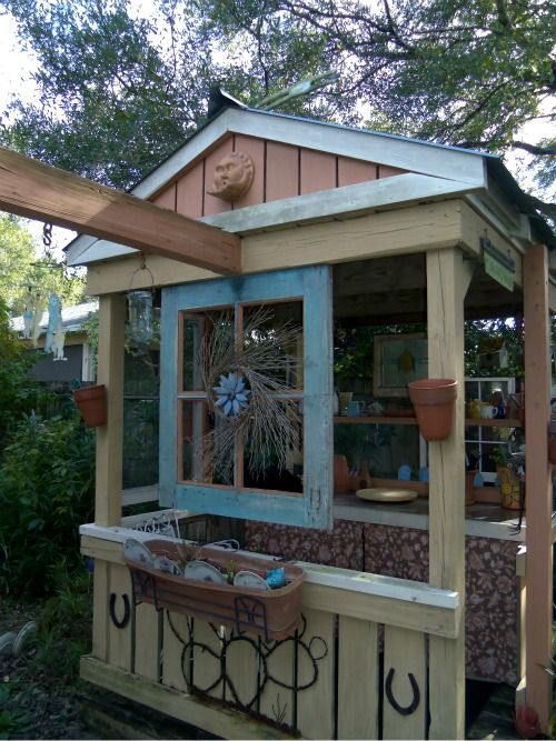 Puppet theater! || garden shed made from swingset/playground @Sally McWilliam McWilliam Schnellinger