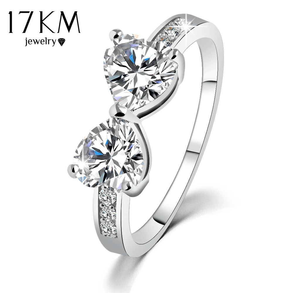 zirconia made steel bow color cubic with stainless crystal rings gold pin wedding austrian