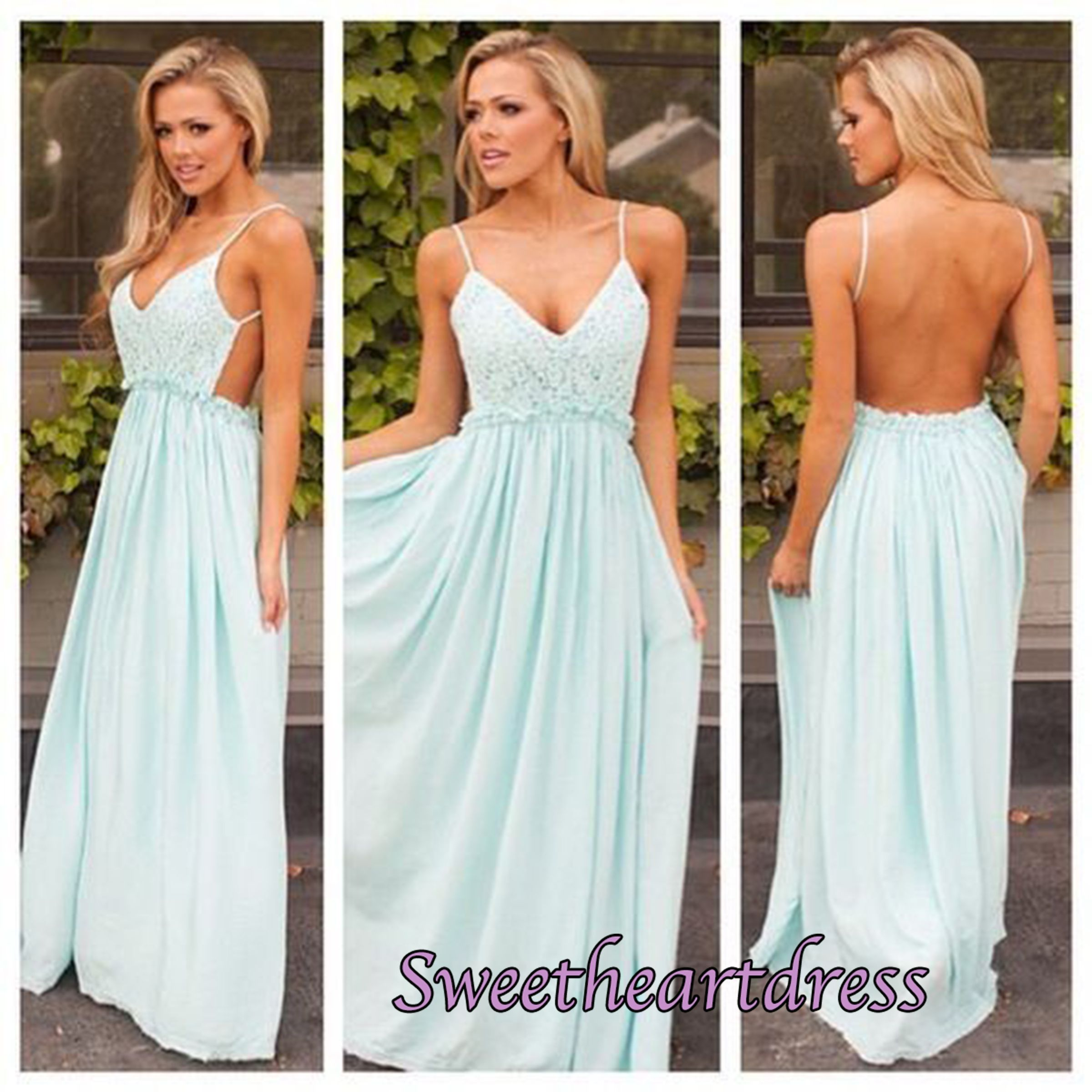 Blue Spaghetti Strap Prom Dresses