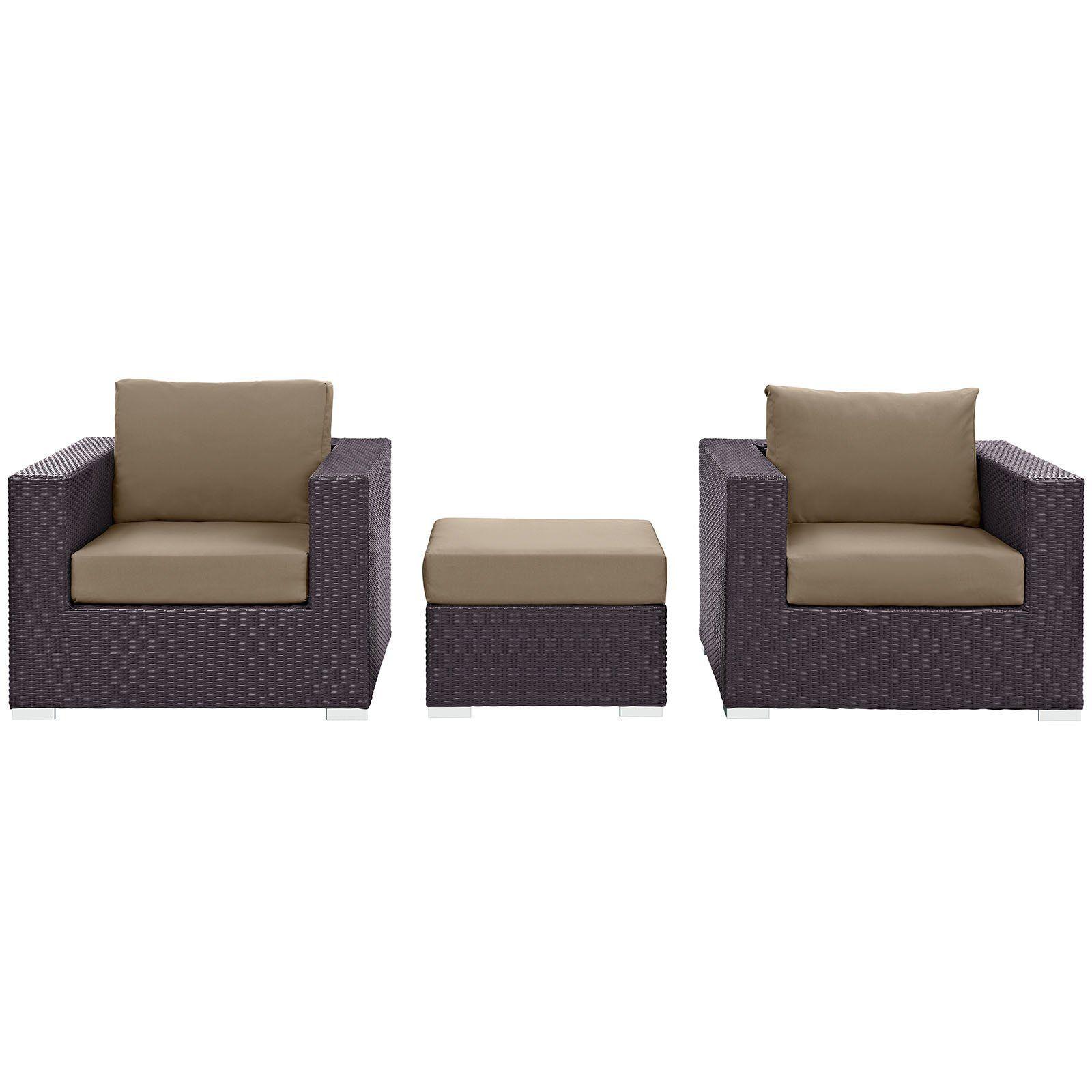 modway 3 piece convene outdoor patio sofa set espresso mocha more rh pinterest com
