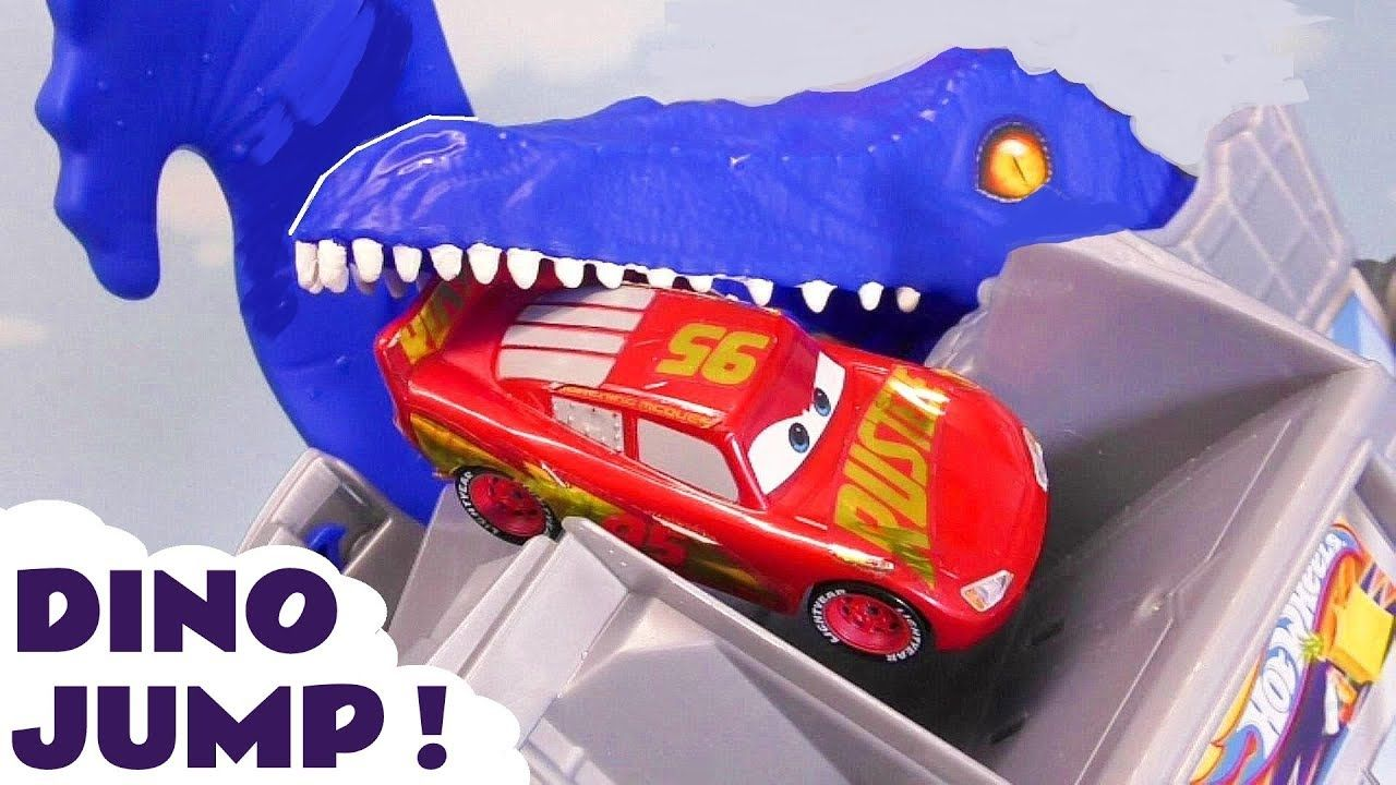 Hot Wheels T Rex Dino Attack Race With Cars 3 Mcqueen And Marvel Avenger Disney Cars Toys Disney Cars Disney Pixar Cars