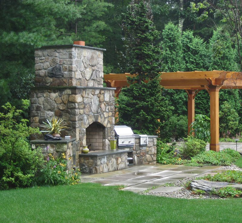 Outdoor Fireplace And Grill Designs | Shrewsbury MA Outdoor Fireplace Built  In Grill Pergola Stone Patio ... | Places To Visit | Pinterest | Pergolas,  Grill ...