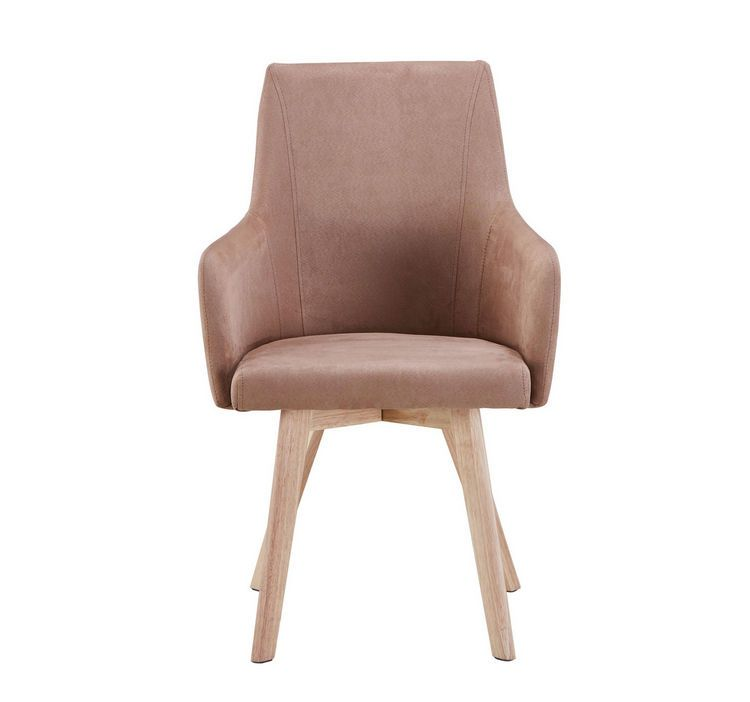 Stuhl Webstoff Kautschukholz Massiv Braun Naturfarben Braun