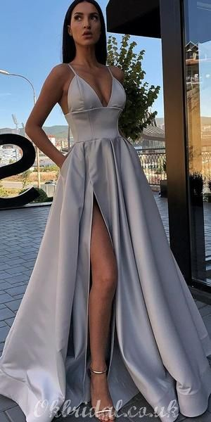 Different Colors A-line Satin Sleeveless Spaghetti Straps Slit Prom Dress, FC3758