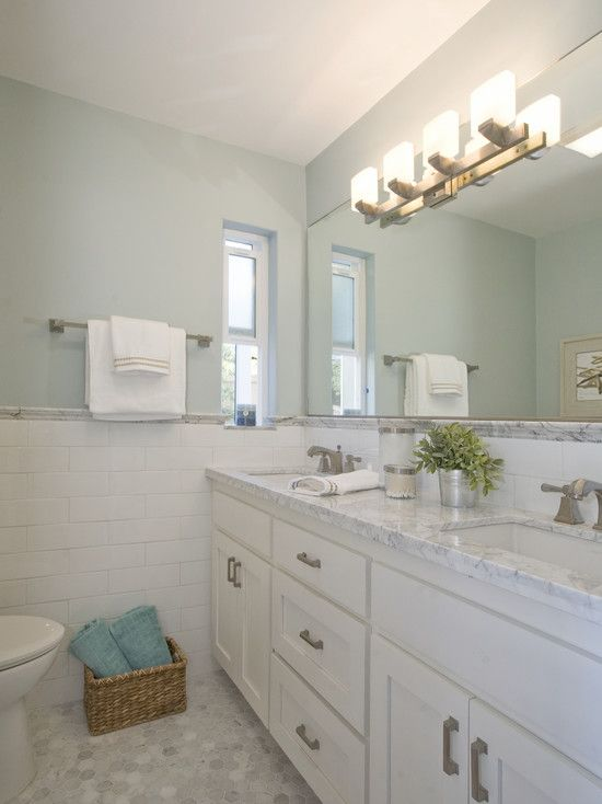 Using The 4x12 White Subway Tiles   White Cabinets   And White/gray Marble  For